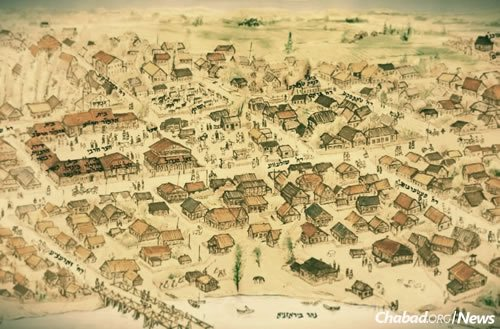 An artist's rendering of the town of Lubavitch.