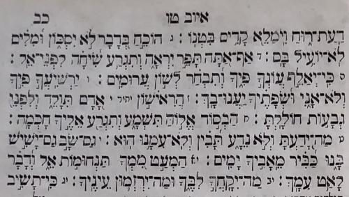 A detail from an edition of the Book of Job, printed in Warsaw in 1861, which displays the text with the cantillation marks unique to the Books of Emet (from the private collection of Menachem Posner).