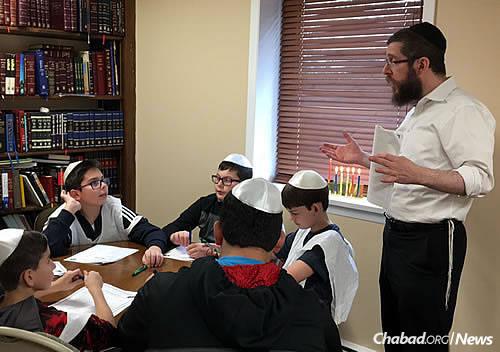 Teaching a class at Chanukah time