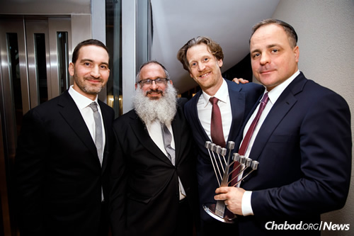 From left: President of the Jewish Community of Bratislava Tomas Stern; Rabbi Baruch Myers, director of Chabad of Slovakia; Austria's Ambassador to Slovakia Carl Helfried; and Bratislava Region's Governor Juraj Droba