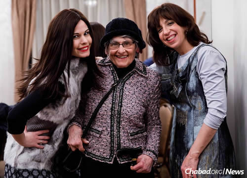 Chanie Myers, right, co-director of Chabad of Slovakia, with her daughter-in-law Tzivia Myers and mother-in-law Maxine Myers