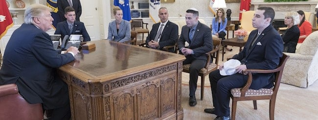 February 2018: Brother of Parkland Victim's Kippah in Oval Office Sends Message to Jewish Youth