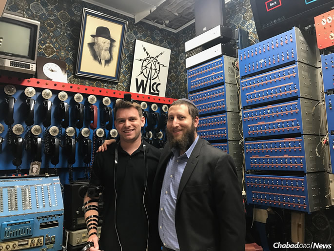 TechCrunch website blogger Fitz Tepper with Lightstone at World Lubavitch Communications Center (WLCC), where Chassidic hackers created a worldwide Judaism broadcast network in the 1970s. Tepper is looking forward to attending the #openShabbat program at SXSW again this year.