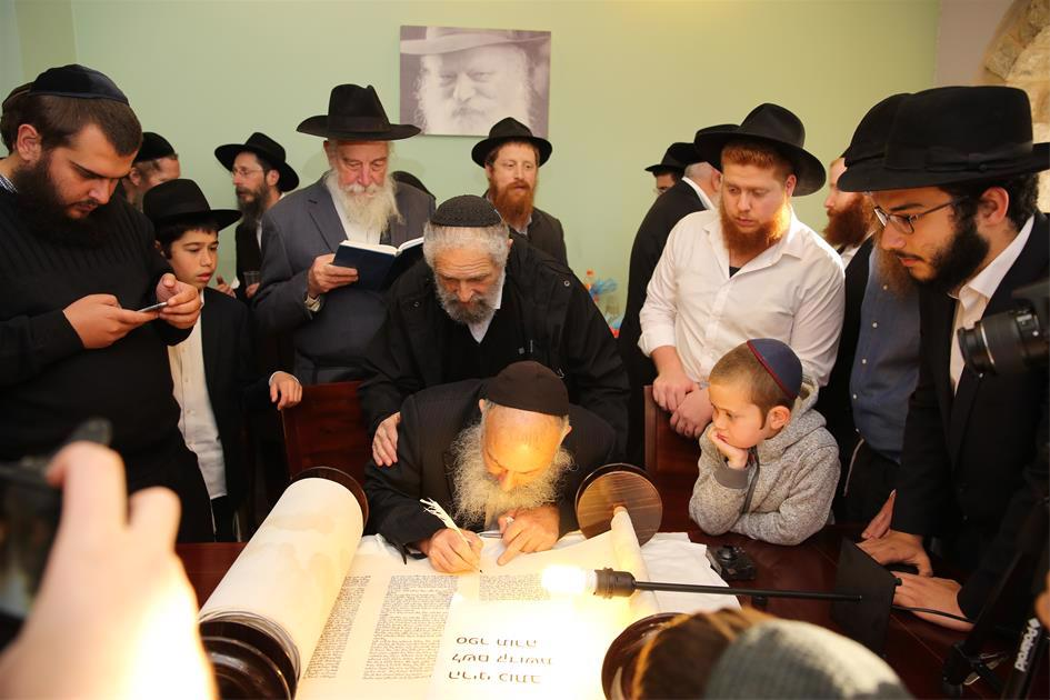 The completion of a new Torah scroll marks a coming of age at Yeshivah Temimei Darech in Safed, Israel. (Photo: Noam Dehan)
