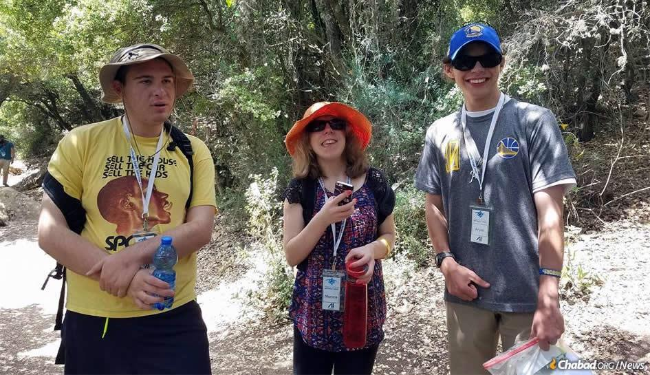 Monica Smolyar, 21, center, of West Orange, N.J., during a hike in the Galilee with other participants in last summer's travels with Friendship Circle. This year, the Birthright trip takes place from June 17-28; it will be Friendship Circle's 10th excursion to Israel.