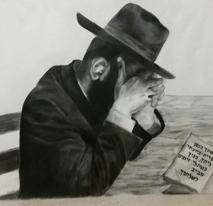 A Jew reciting Tehillim. Art by Chana Voola
