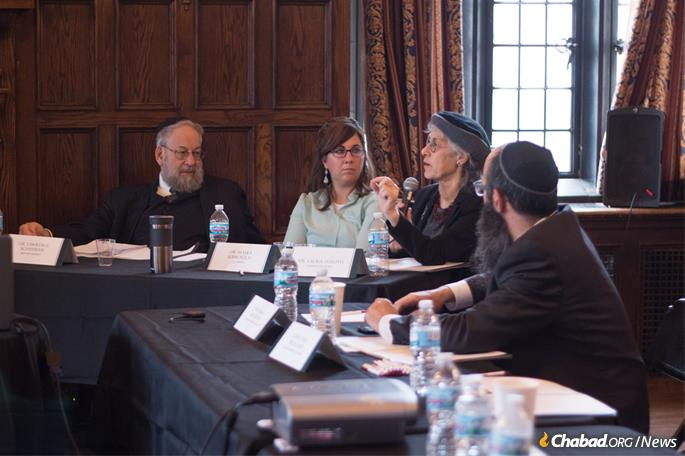 The panel of judges included, from left: Dr. Lawrence Schiffman, professor of Hebrew and Judaic Studies at New York University; Dr. Malka Simkovich, Crown-Ryan chair of Jewish Studies at CTU, Chicago; and Dr. Laurie Zoloth, dean of the University of Chicago Divinity School.