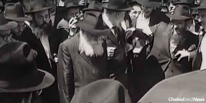 The Rebbe at the funeral procession for R' Chaim Yosef Dovid Neymotin.
