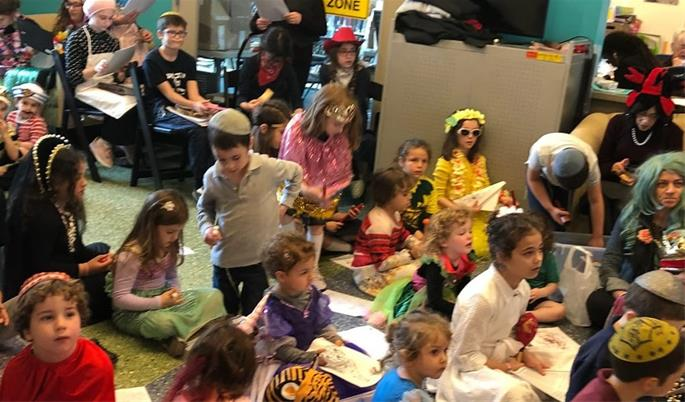 Students and staff celebrate the Jewish holiday of Purim.