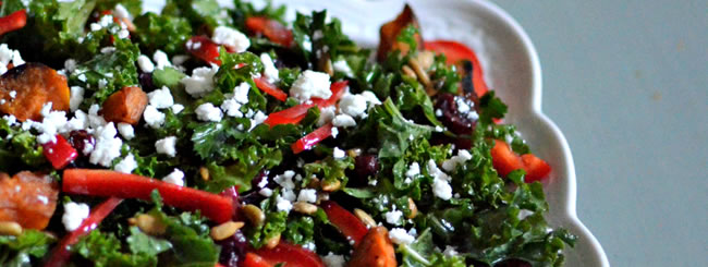 Kale Salad with Roast Sweet Potato, Peppers, Sunflower Seeds and Feta
