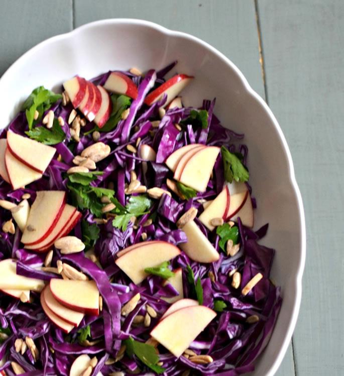 Purple Cabbage Amp Apple Salad With Lemon Tahini Dressing