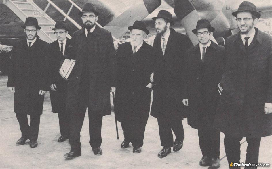 Rabbi Aryeh Leib Kaplan, third from left, pioneered the revival of Jewish life in Safed, Israel. He is shown here at age 20, when he was sent by the Rebbe to lead a group of rabbinical students who helped establish the first yeshivah in Australia.