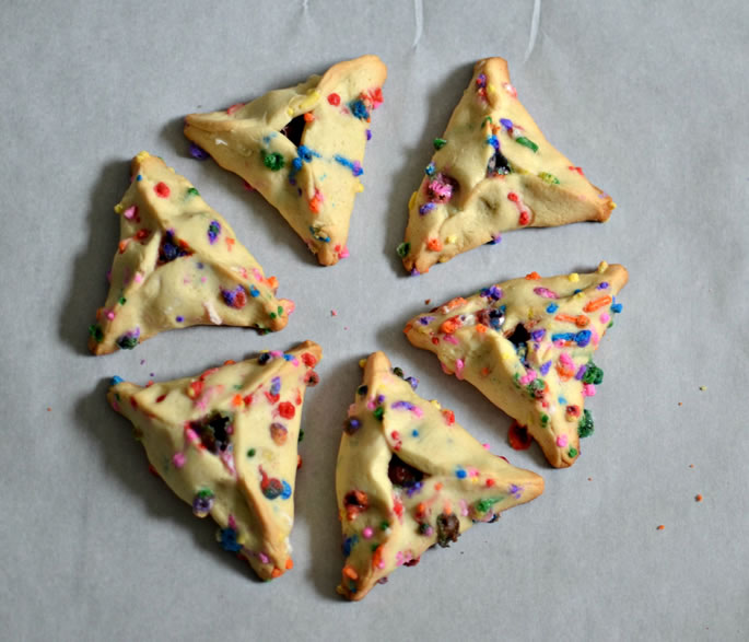 Cheerful Chocolate-Filled Funfetti Hamantaschen - Cookies - Kosher Recipe