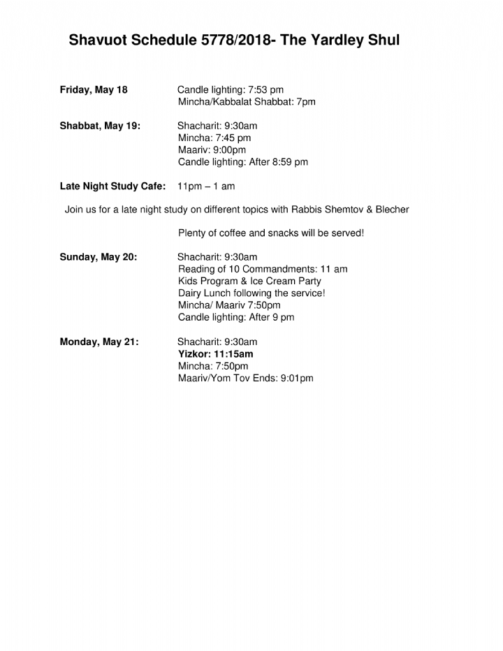 yardley shavuos schedule 5778.png