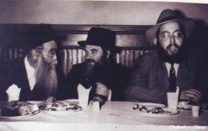 Devorah Groner's father, Rabbi Chaim Tzvi Konikov, center, and Rabbi Yitzchok Dovid Groner, right, at the couple's engagement.