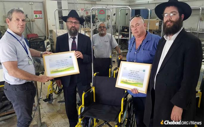 Partnering with the American Wheelchair Mission, Chabad's Terror Victims Project donated state-of-the-art wheelchairs to the HaEmek Medical Center in Afula.