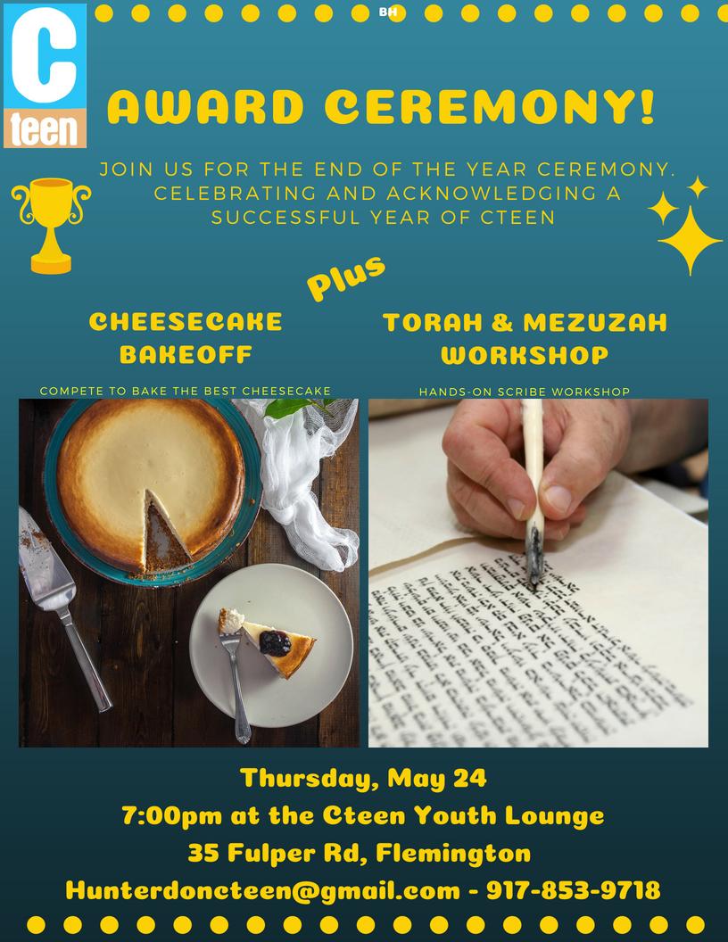 award ceremony 2018 cheesecake torah