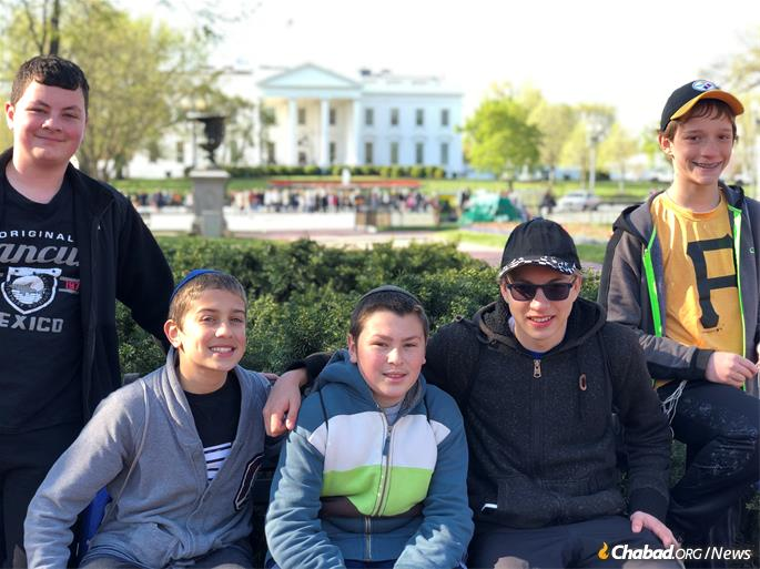 From left: Daniel Bland, Dovi Lipskier, Noson Sollish, Aaron Blanks and Aaron Linder near the White House.