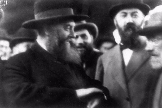 The sixth Rebbe, Rabbi Yosef Y. Schneersohn (left), and Mordechai Dubin.