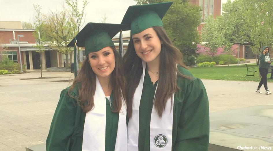 Mariah Stein, left, and Sammi Plotsker prepare for their alternative graduation ceremony at Binghamton University.