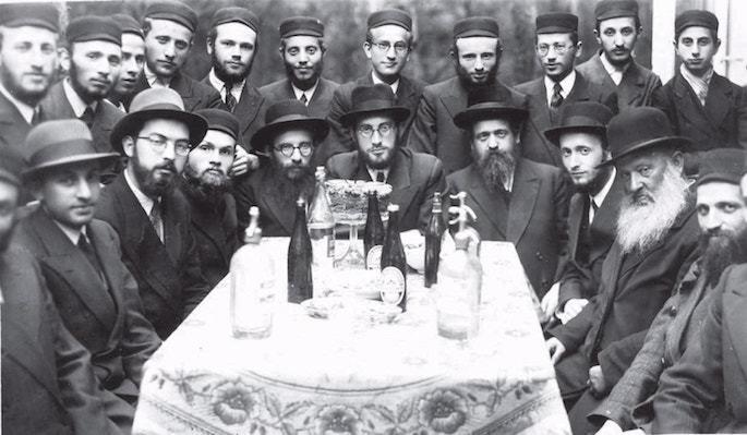 Zalman Dubin (third from left) at a gathering at Yeshivah Tomchei Temimim Otwock, Poland. Photo: Kehot Publication Society.
