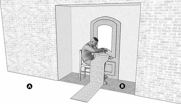 Fig. 41: A person reading a scroll of sacred writings whose end rolled into the public domain. a) A poublic domain; b) A doorstep which has a lintel and walls that are 4x4 handbreadths wide