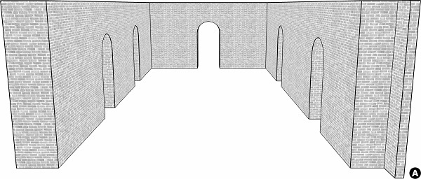 Fig. 62: A lechi whose projection is apparent to the people standing outside, but next to, the inner space of the lane. a) the lechi