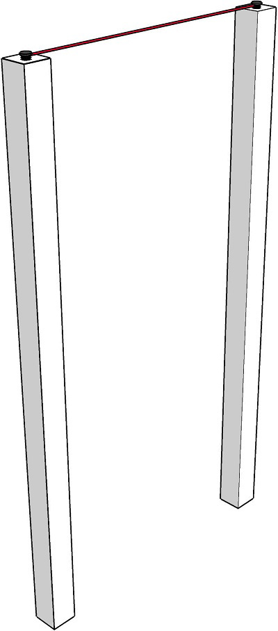 Fig. 57: A tzuras hapesach formed by tying a string to nails on the top of the side-posts