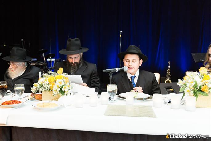 The bar mitzvah boy shares Torah learning at the celebration. (Photo: Norina Kaye)