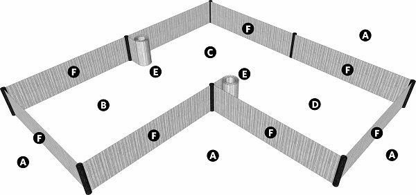 Fig. 51: Enclosures made with mats. a) A public domain; b) A enclosure made by one person; c) An enclosure made by a second person; d) An enclosure made by a third person; e) The mats used to make the inner enclosures that were later rolled up; f) The mats used to make the outer enclosures