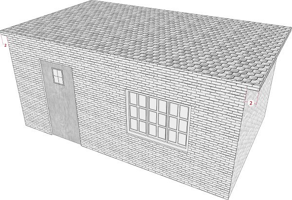 Fig. 28: A roof that extends less than 4 handbreadths beyond the walls of both sides of a building