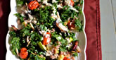 Kale with Roasted Vegetables & Creamy Garlic Dressing