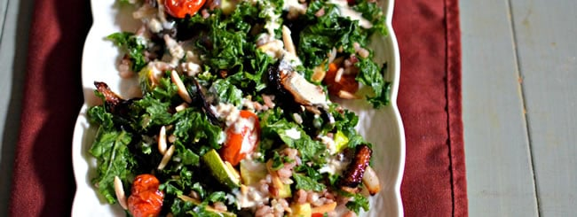 Kale, Spinach, Arugula and Other Greens: Kale with Roasted Vegetables & Creamy Garlic Dressing