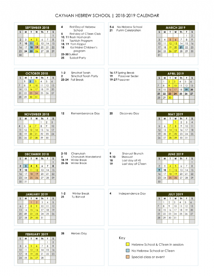 Chabad Jewish Calendar 2019 CHS Calendar 2018 2019   Chabad Cayman Jewish Community Center