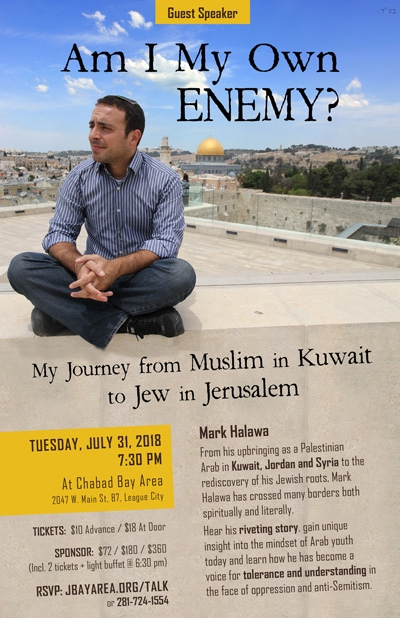 Guest Speaker Mark Halawa - From Kuwait to Jerusalem - Tuesday, July 31 at 7:30 pm