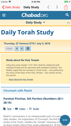 Daily Torah Study App - Easy access to daily Torah lessons from
