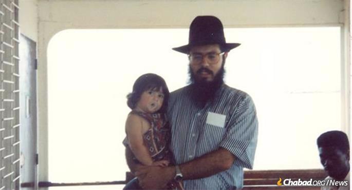 Rabbi Shlomo Bentolila in the 1990s with his daughter, Debbie.