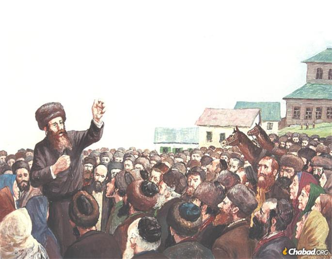 This painting by Hasidic artist Zalman Kleinman shows an early Hasidic master sharing inspiration with simple folk in the market place.