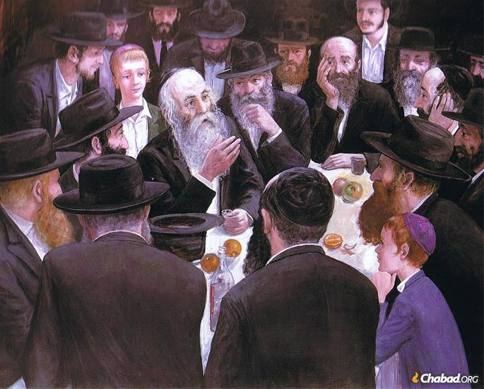 "In this painting Hasidic artist Zalman Kleinman shows the ""farbrengen,"" a Hasidic gathering that features song, stories, Torah teachings and inspiration."