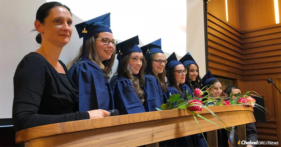 Six students pictured above at the Jewish Traditional School in the Charlottenburg-Wilmersdorf section of Berlin registered exceptional results in the citywide Regents exam, in which their school ranked first of all high schools in Berlin, Germany.