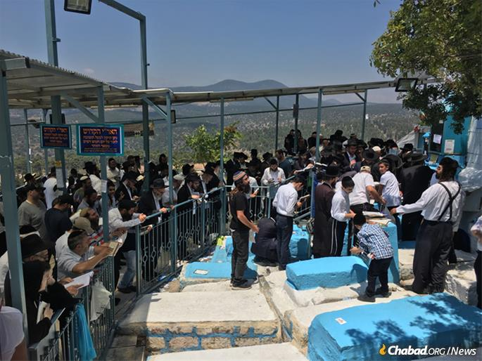 Between 25,000 and 30,000 visitors gathered in Safed to mark the anniversary of the passing of the rabbi. (Photo: Jodi Sugar)