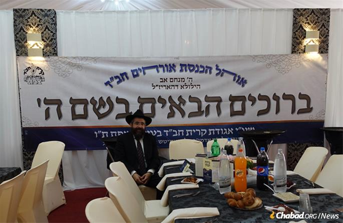 Rabbi Chaim Kaplan, director of Chabad of Safed, before the guests arrived. (Photo: Jodi Sugar)