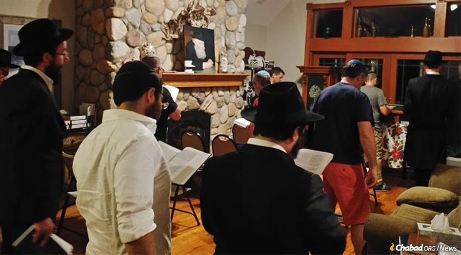 Chabad of Montauk hosted its first-ever Shabbat minyan on June 29. Throughout the summer, Rabbi Aizik and Musia Baumgarten will offer family-oriented activities like challah-baking on Thursdays and pre-Shabbat parties on the beach. (Photo was taken after the conclusion of Shabbat)