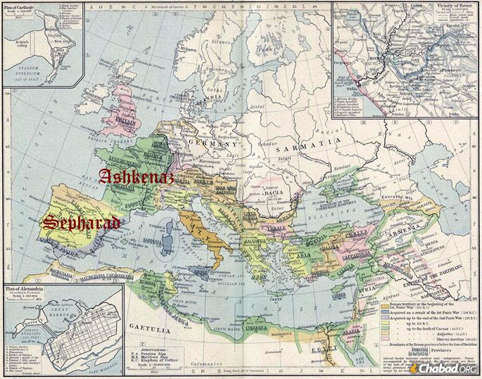 After the decline of the Jewish communities Holy Land and Babylon, Jews found new life in Europe, where they blossomed into Ashkenaz and Sepharad.
