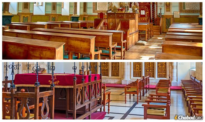 Top: a Ashkenazi synagogue with the seating facing east. Below: A Sephardi synagogue with the seating facing the center.