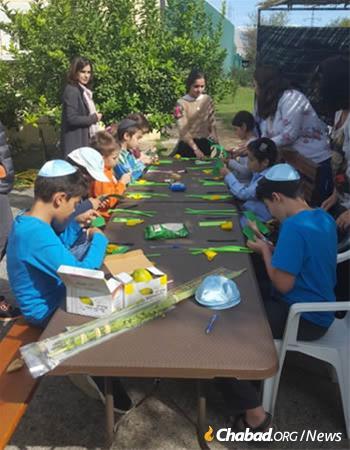 Jewish children in Montenegro celebrate Sukkot.