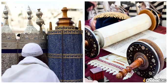 Left: Sephardi Torahs. Right: An Ashkenazi Torah