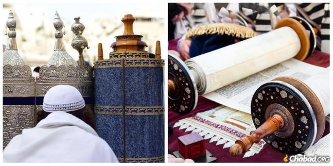 Left: Sephardi Torahs. Right: An Ashkenazi Torah