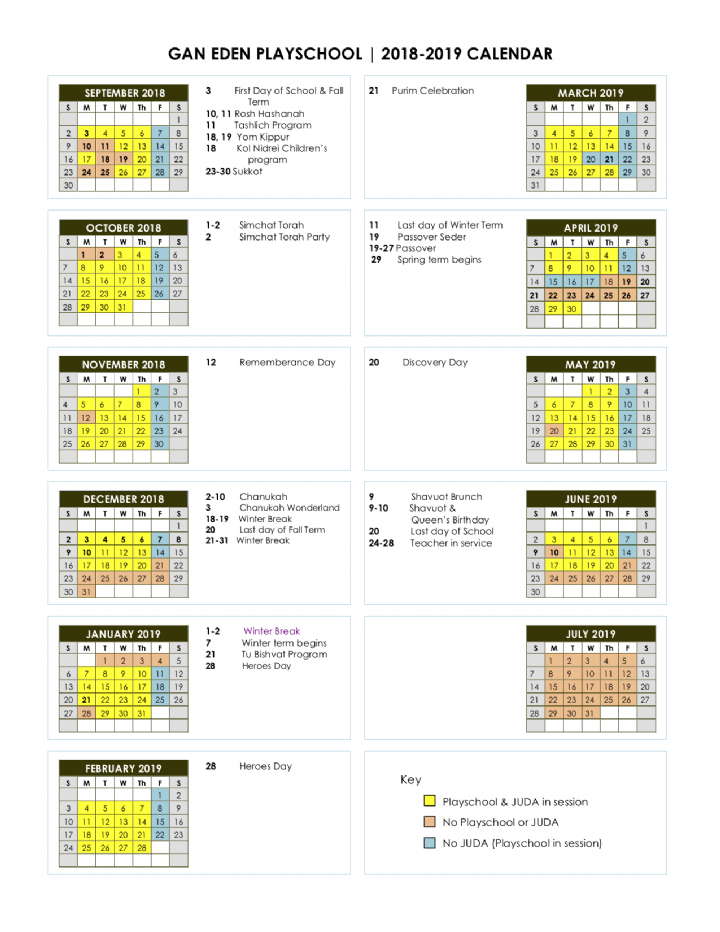 Gan Eden Playschool Calendar 2018-2019.png
