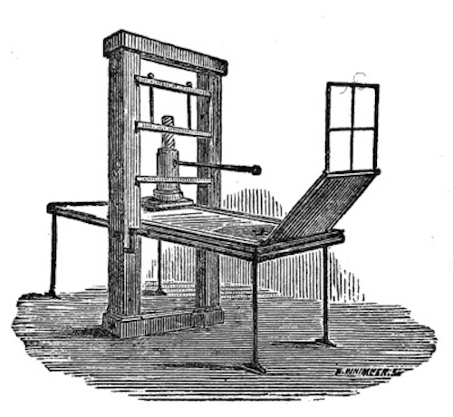 Early Press, etching from Early Typography by William Skeen